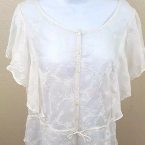 Lucky Brand Womens Blouse Size L White Embroidered